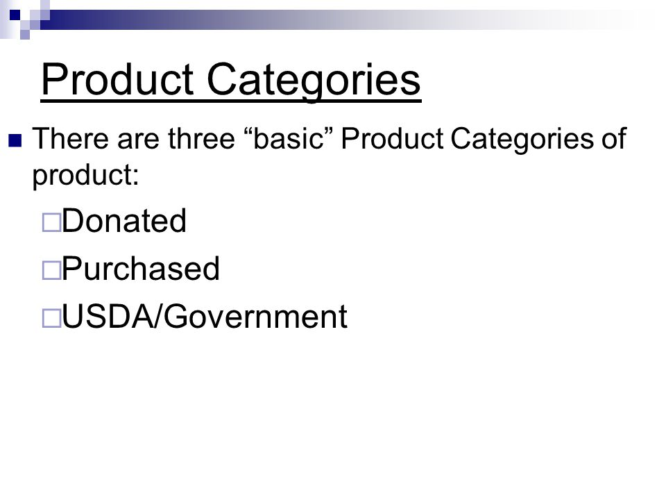 Product Categories Donated Purchased USDA/Government