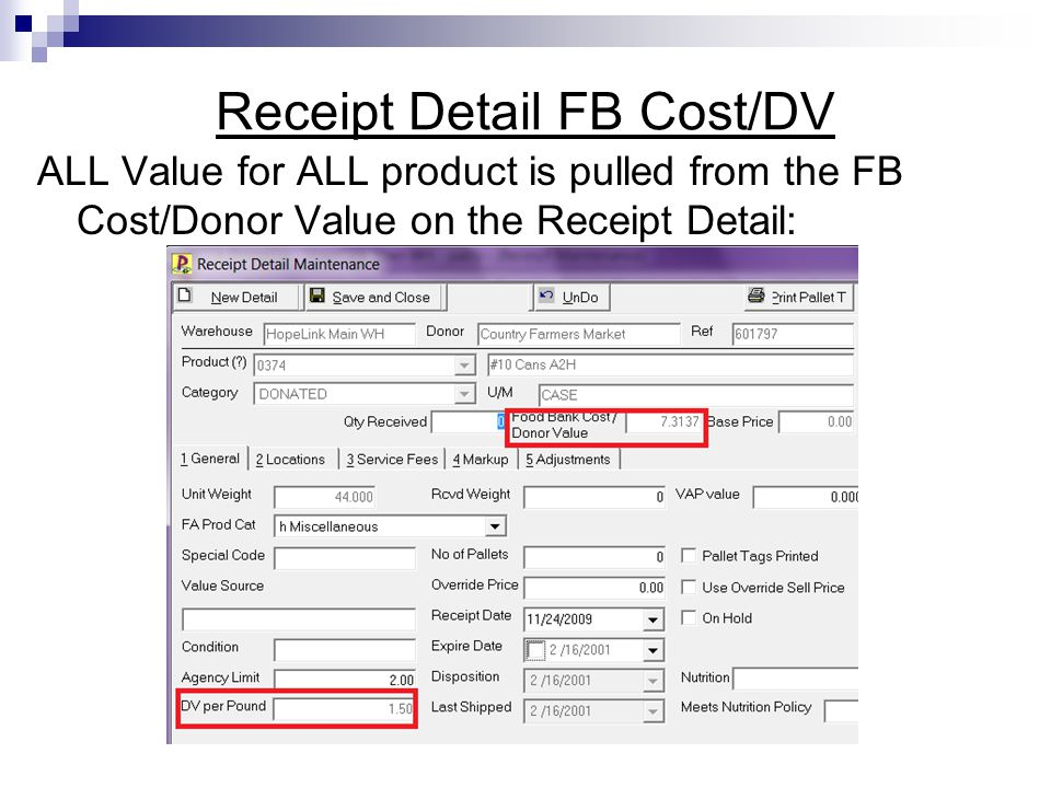 Receipt Detail FB Cost/DV