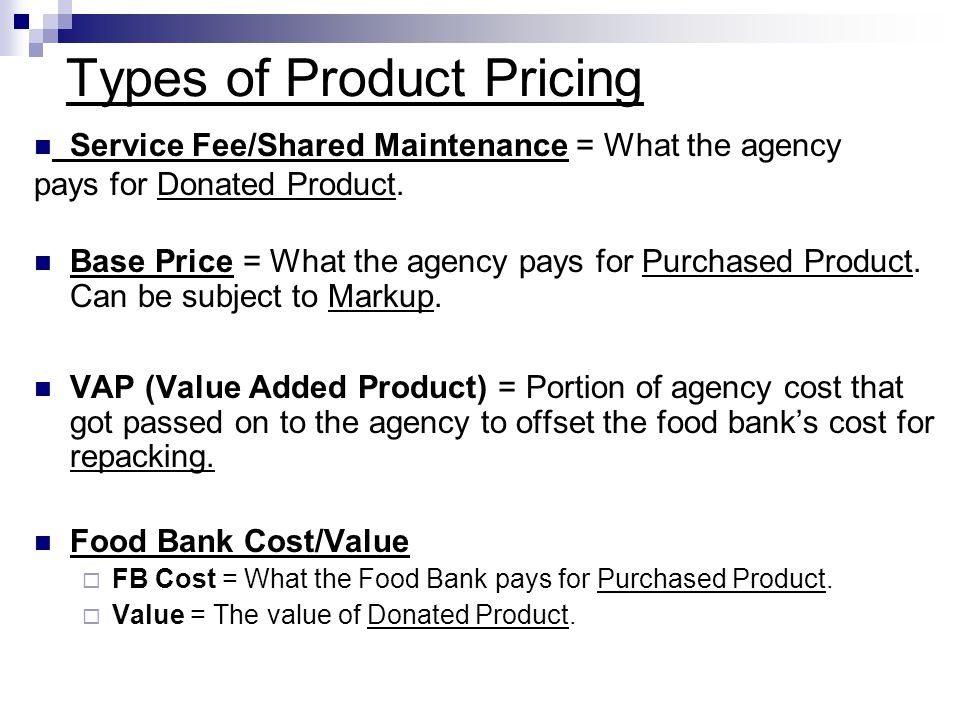 Types of Product Pricing