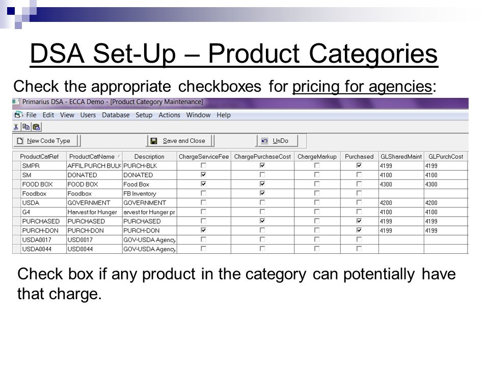DSA Set-Up – Product Categories
