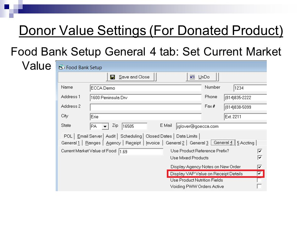 Donor Value Settings (For Donated Product)