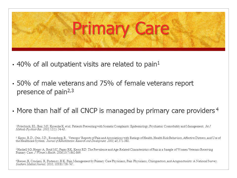 Primary Care 40% of all outpatient visits are related to pain1