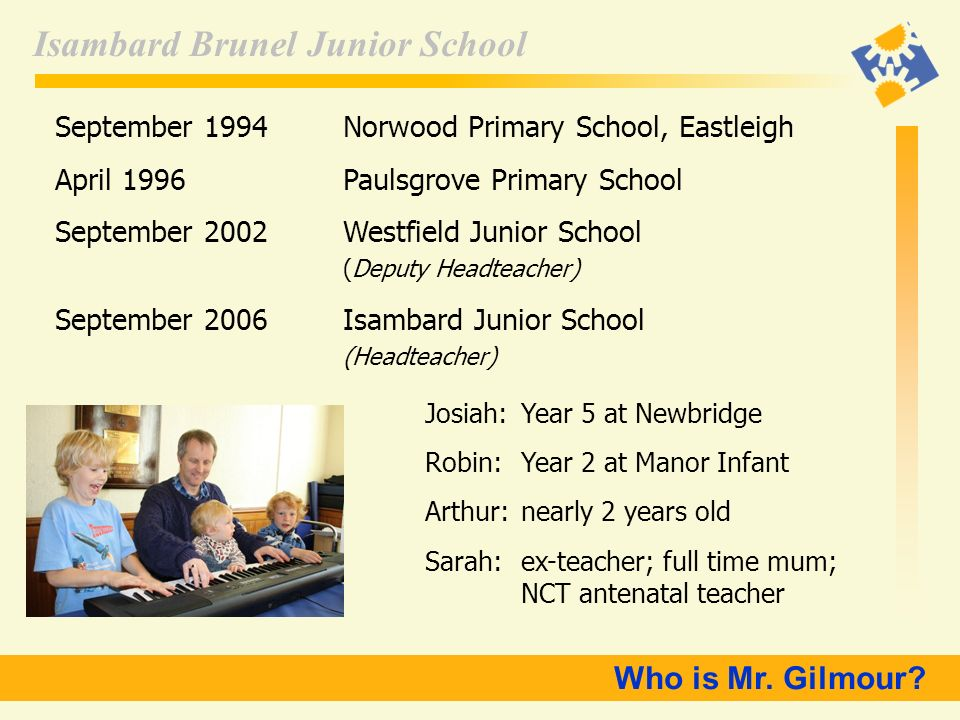 Who is Mr. Gilmour September 1994 Norwood Primary School, Eastleigh