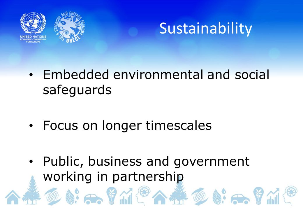 Sustainability Embedded environmental and social safeguards