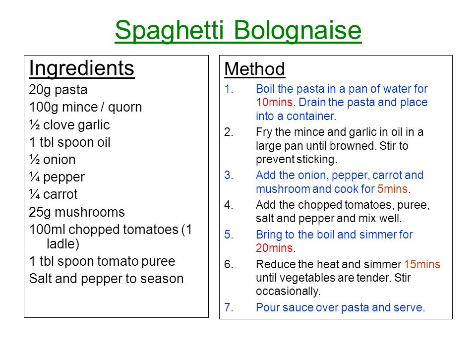 Spaghetti Bolognaise Ingredients Method 20g pasta 100g mince / quorn