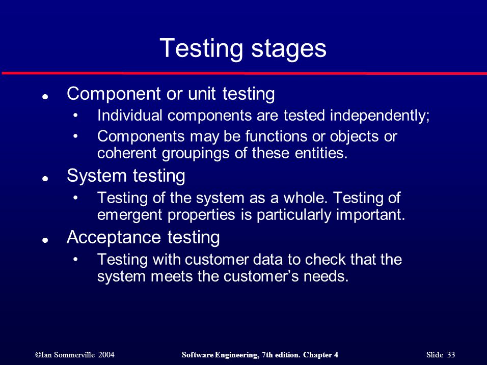 Testing stages Component or unit testing System testing