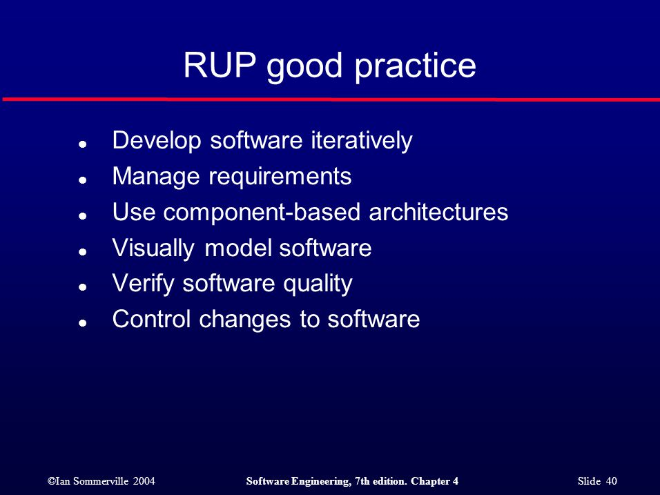 RUP good practice Develop software iteratively Manage requirements