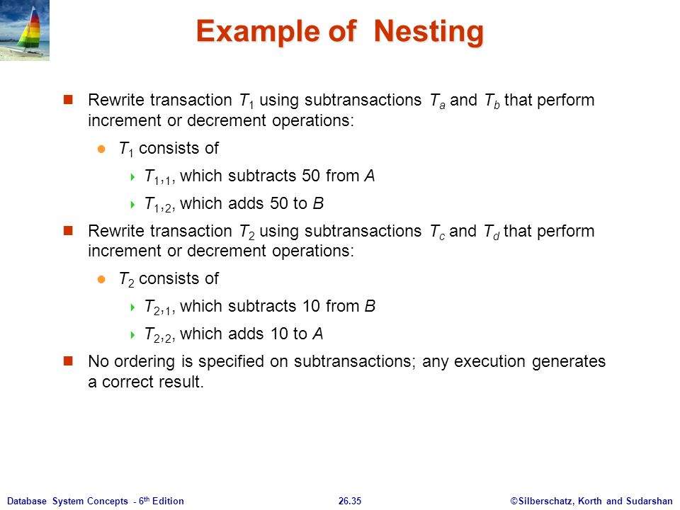 Example of Nesting Rewrite transaction T1 using subtransactions Ta and Tb that perform increment or decrement operations:
