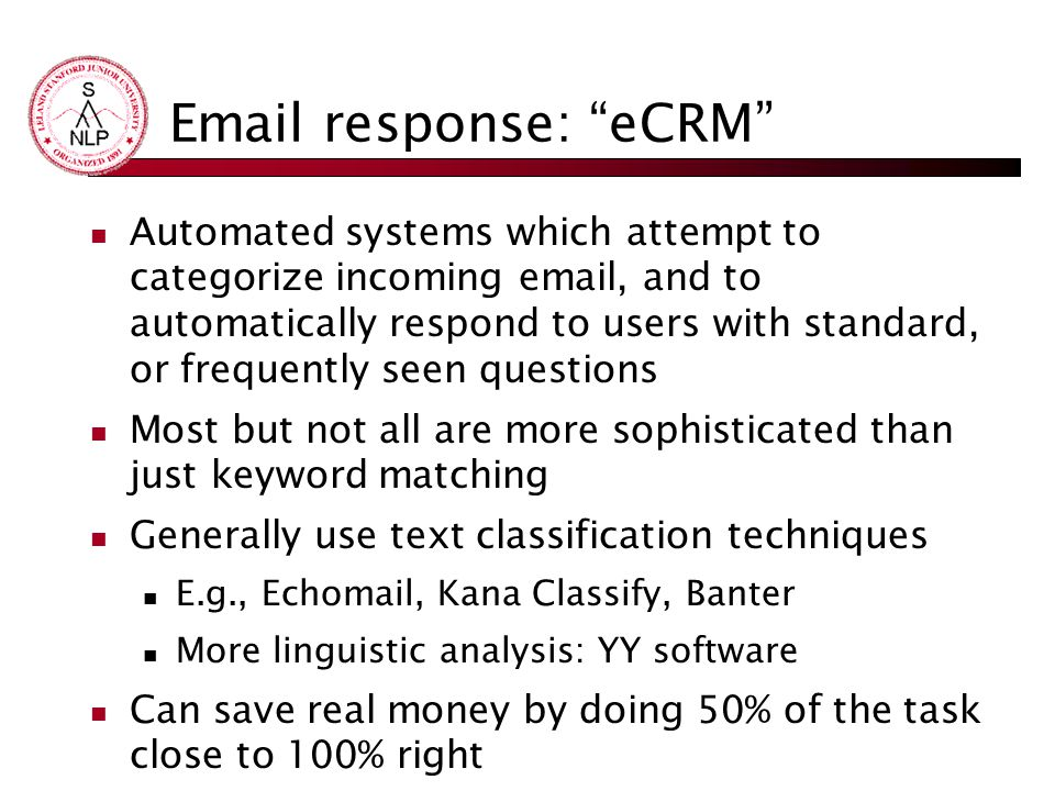 Email response: eCRM