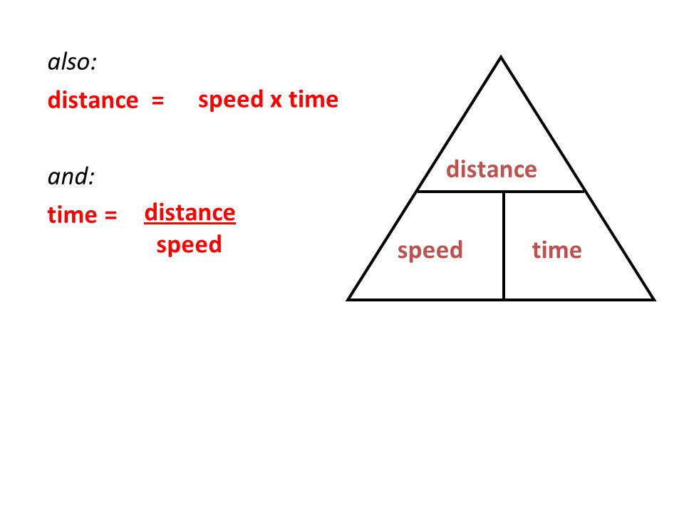 also: distance = and: time = speed x time distance distance speed speed time