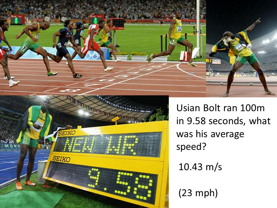 Usian Bolt ran 100m in 9.58 seconds, what was his average speed
