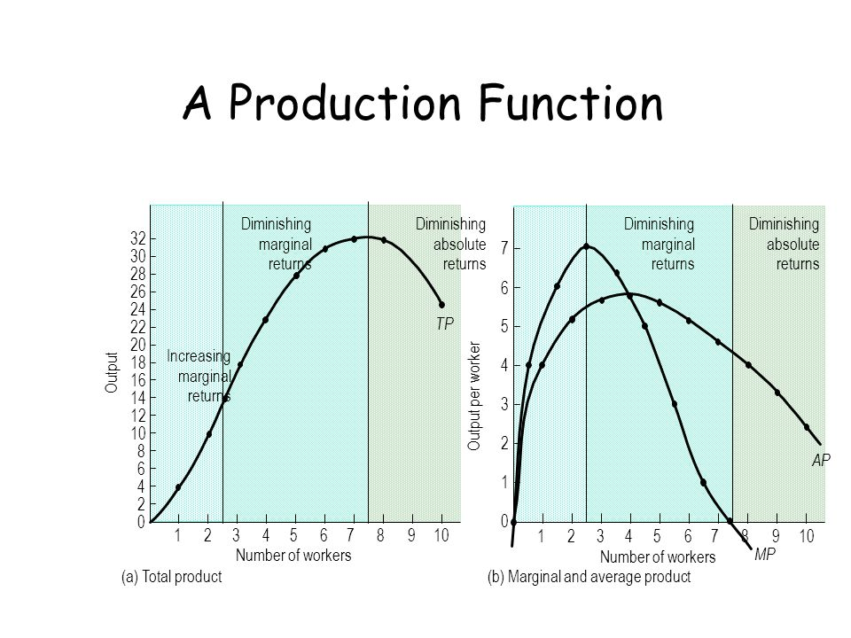 A Production Function Output Diminishing marginal returns