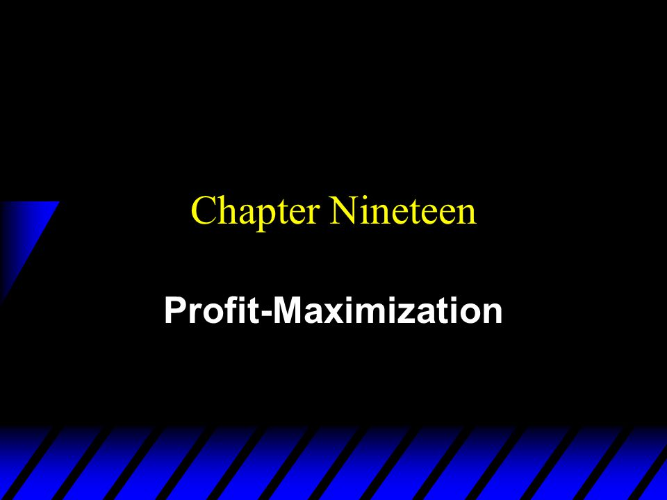 Chapter Nineteen Profit-Maximization