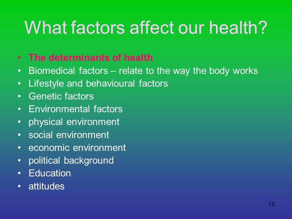 What factors affect our health