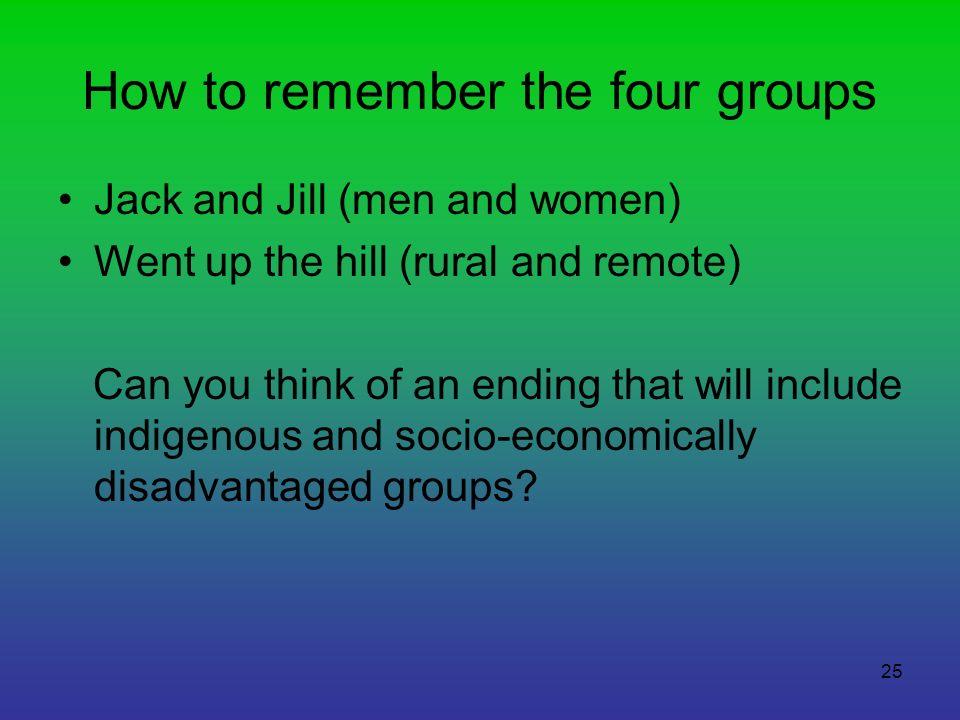 How to remember the four groups