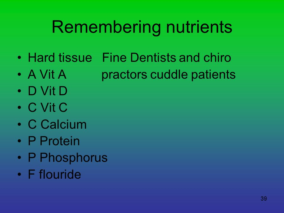 Remembering nutrients