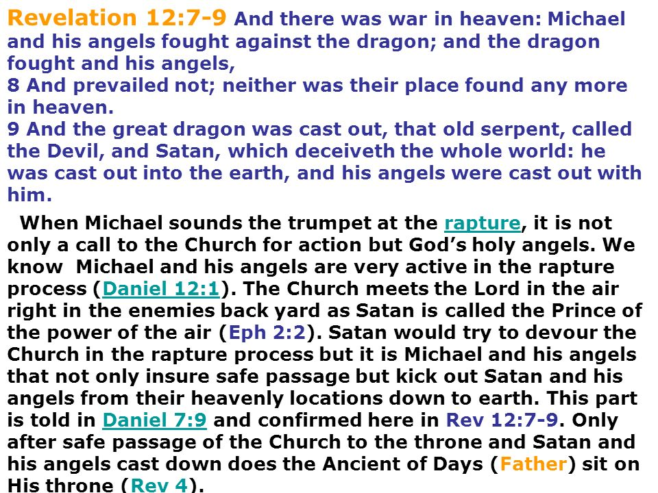 Revelation 12:7-9 And there was war in heaven: Michael and his angels fought against the dragon; and the dragon fought and his angels,