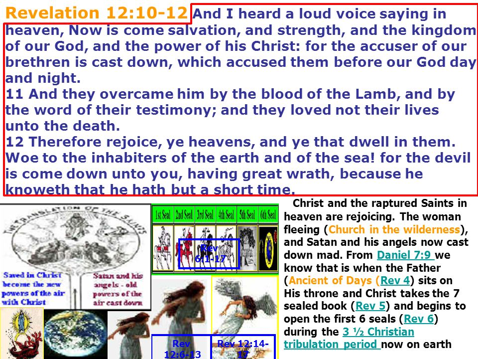Revelation 12:10-12 And I heard a loud voice saying in heaven, Now is come salvation, and strength, and the kingdom of our God, and the power of his Christ: for the accuser of our brethren is cast down, which accused them before our God day and night. 11 And they overcame him by the blood of the Lamb, and by the word of their testimony; and they loved not their lives unto the death. 12 Therefore rejoice, ye heavens, and ye that dwell in them. Woe to the inhabiters of the earth and of the sea! for the devil is come down unto you, having great wrath, because he knoweth that he hath but a short time.