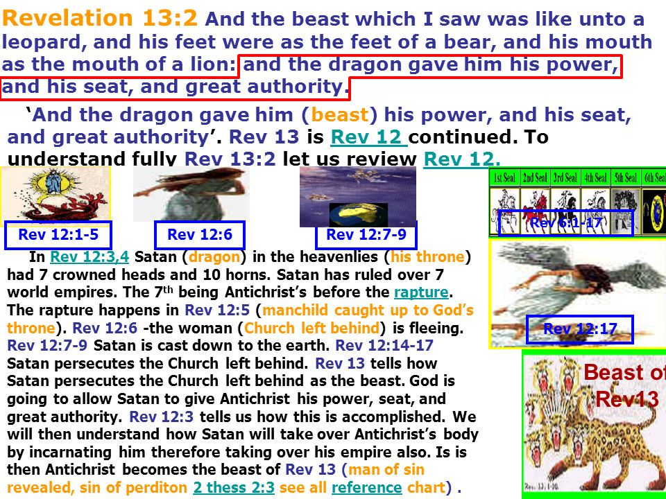 Revelation 13:2 And the beast which I saw was like unto a leopard, and his feet were as the feet of a bear, and his mouth as the mouth of a lion: and the dragon gave him his power, and his seat, and great authority.
