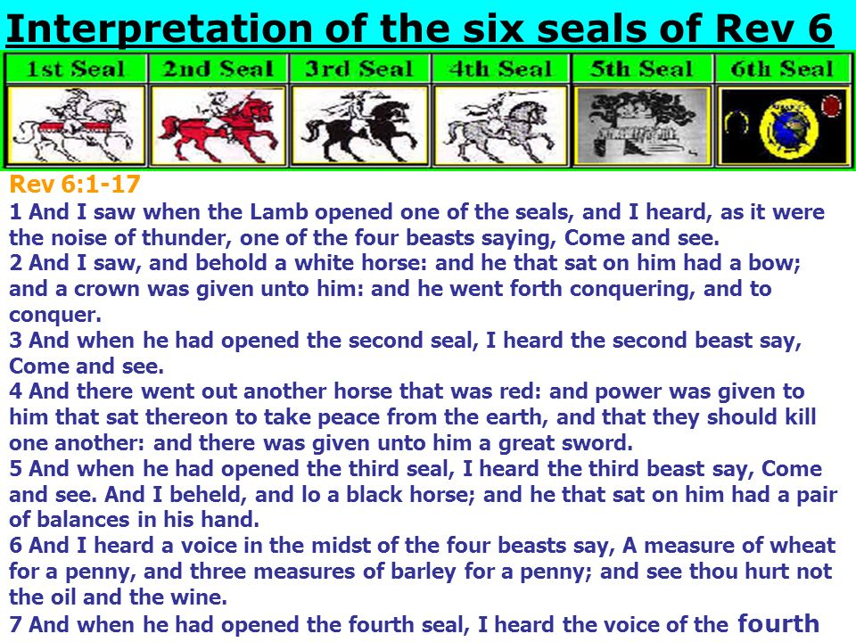 Interpretation of the six seals of Rev 6