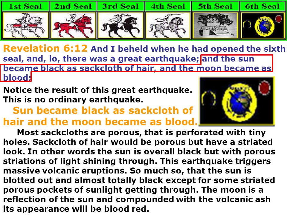 Sun became black as sackcloth of hair and the moon became as blood.