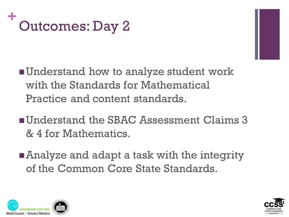 Outcomes: Day 2 Understand how to analyze student work with the Standards for Mathematical Practice and content standards.