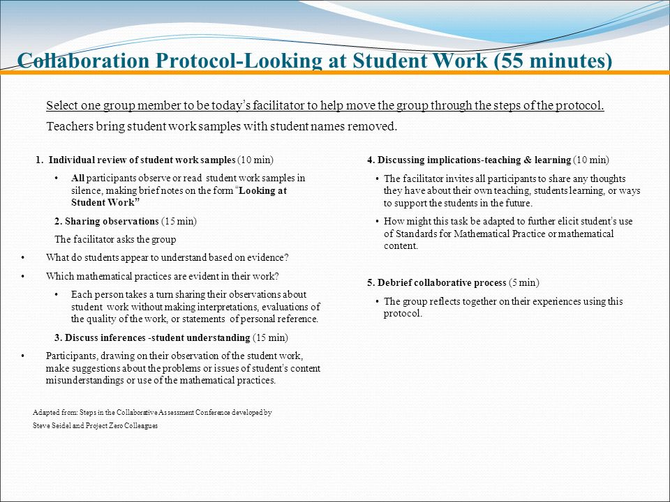 Collaboration Protocol-Looking at Student Work (55 minutes)