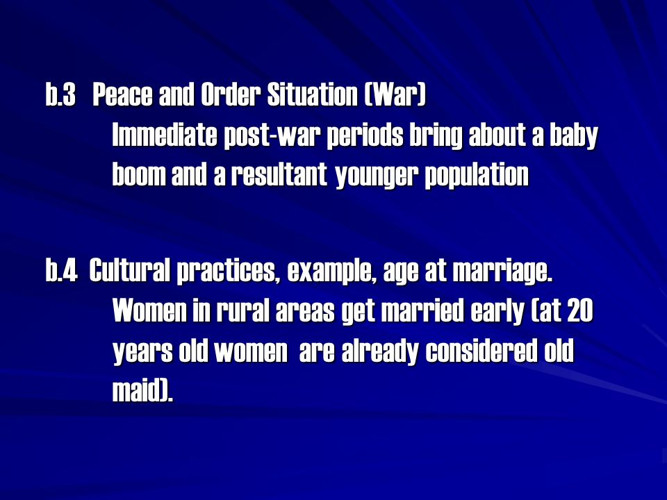 b. 3 Peace and Order Situation (War)