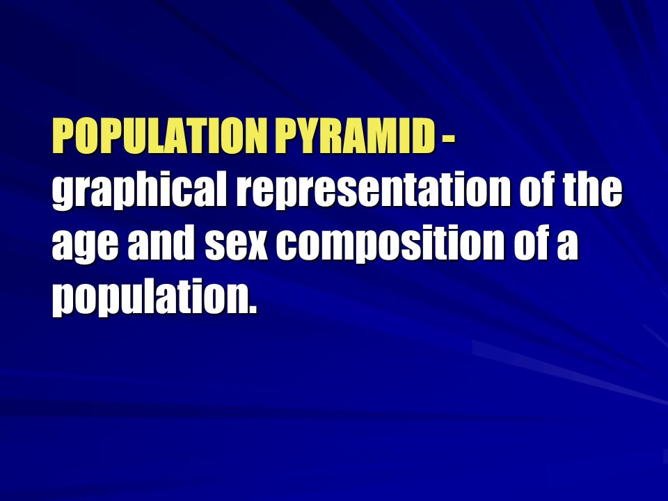 POPULATION PYRAMID - graphical representation of the age and sex composition of a population.