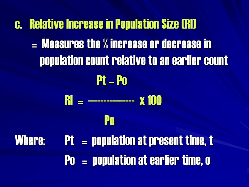 c. Relative Increase in Population Size (RI)