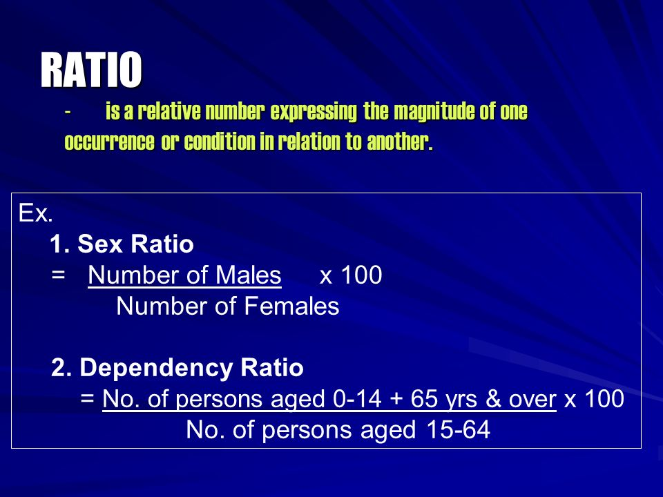 RATIO - is a relative number expressing the magnitude of one occurrence or condition in relation to another.