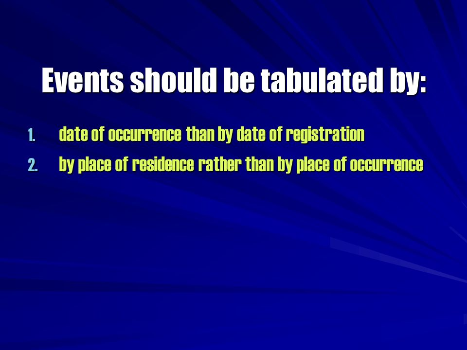 Events should be tabulated by:
