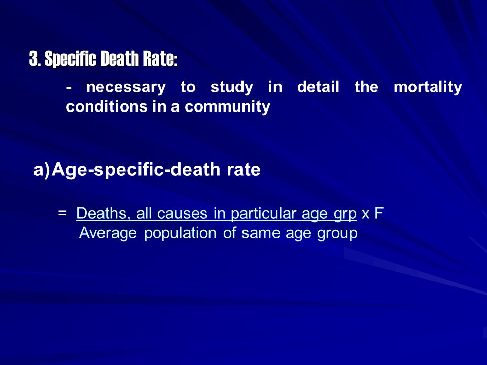 3. Specific Death Rate: Age-specific-death rate