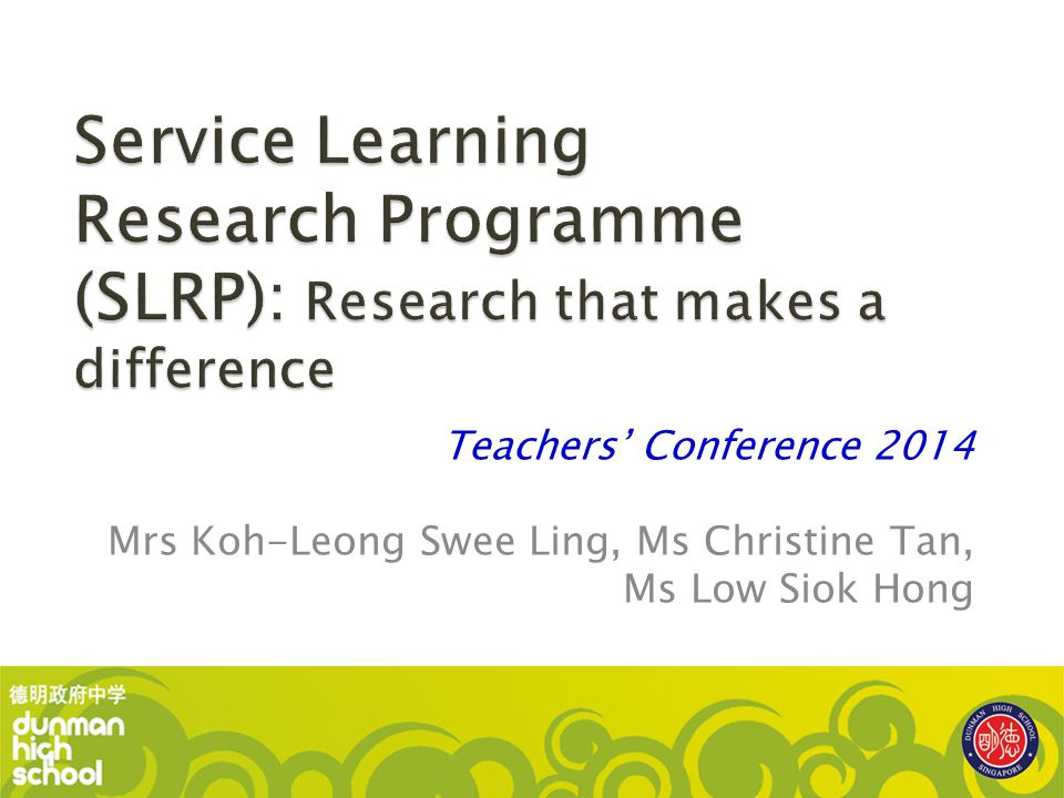 Service Learning Research Programme (SLRP): Research that makes a difference