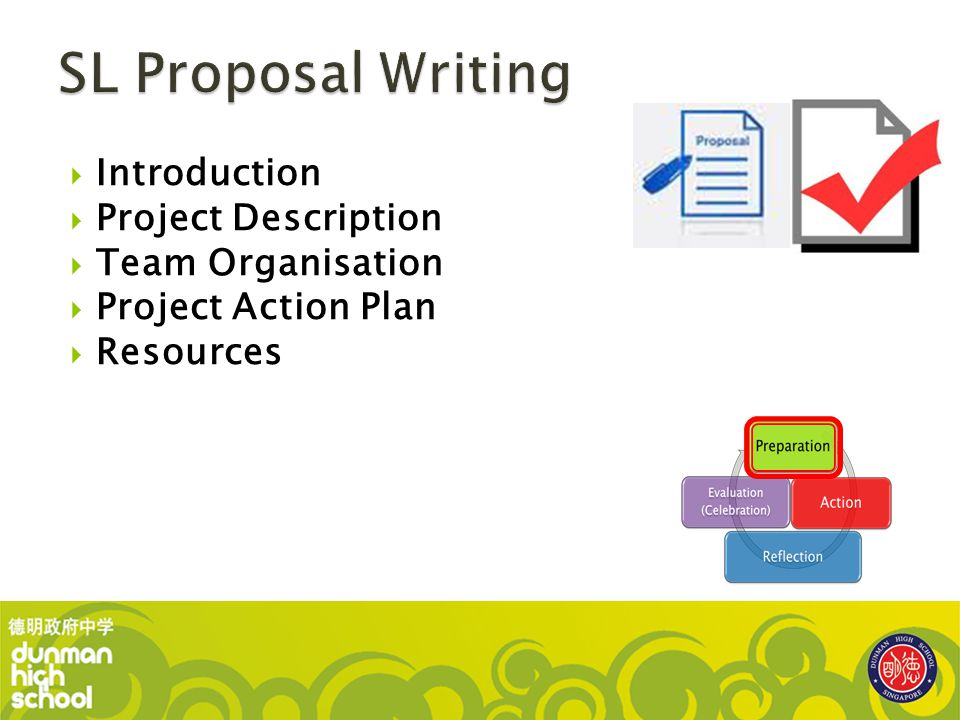 SL Proposal Writing Introduction Project Description Team Organisation