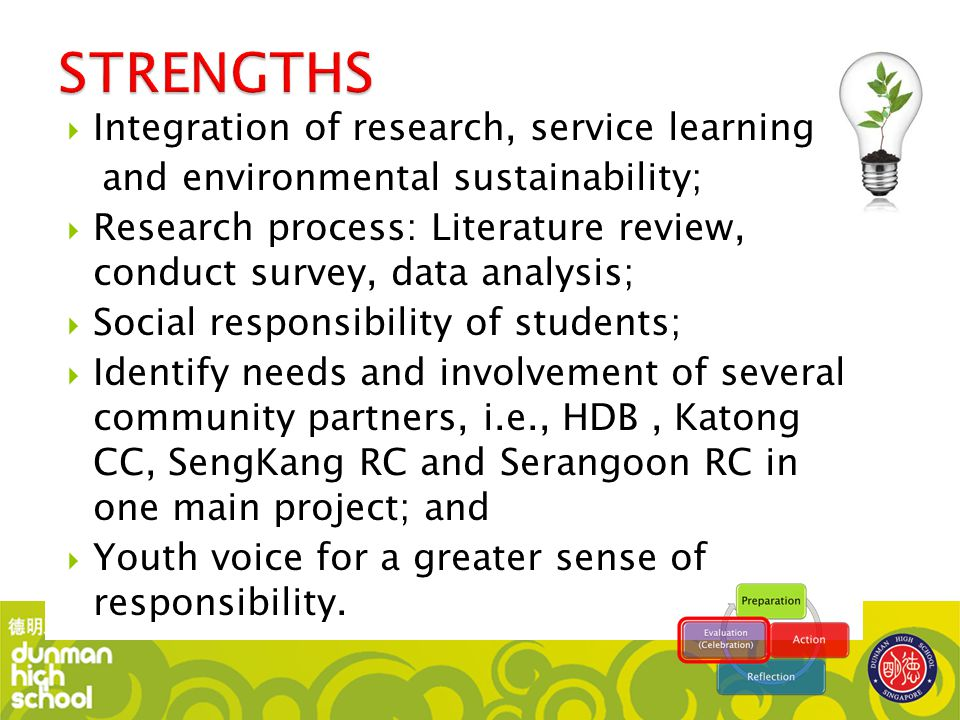 STRENGTHS Integration of research, service learning