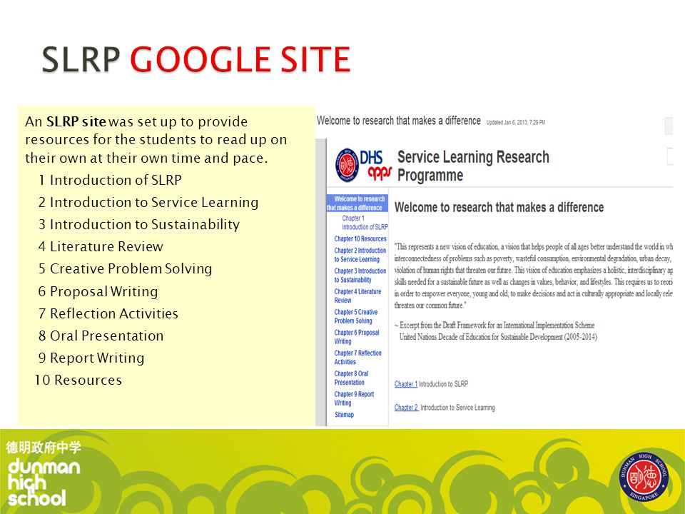 SLRP GOOGLE SITE An SLRP site was set up to provide resources for the students to read up on their own at their own time and pace.