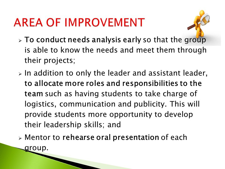 AREA OF IMPROVEMENT To conduct needs analysis early so that the group is able to know the needs and meet them through their projects;