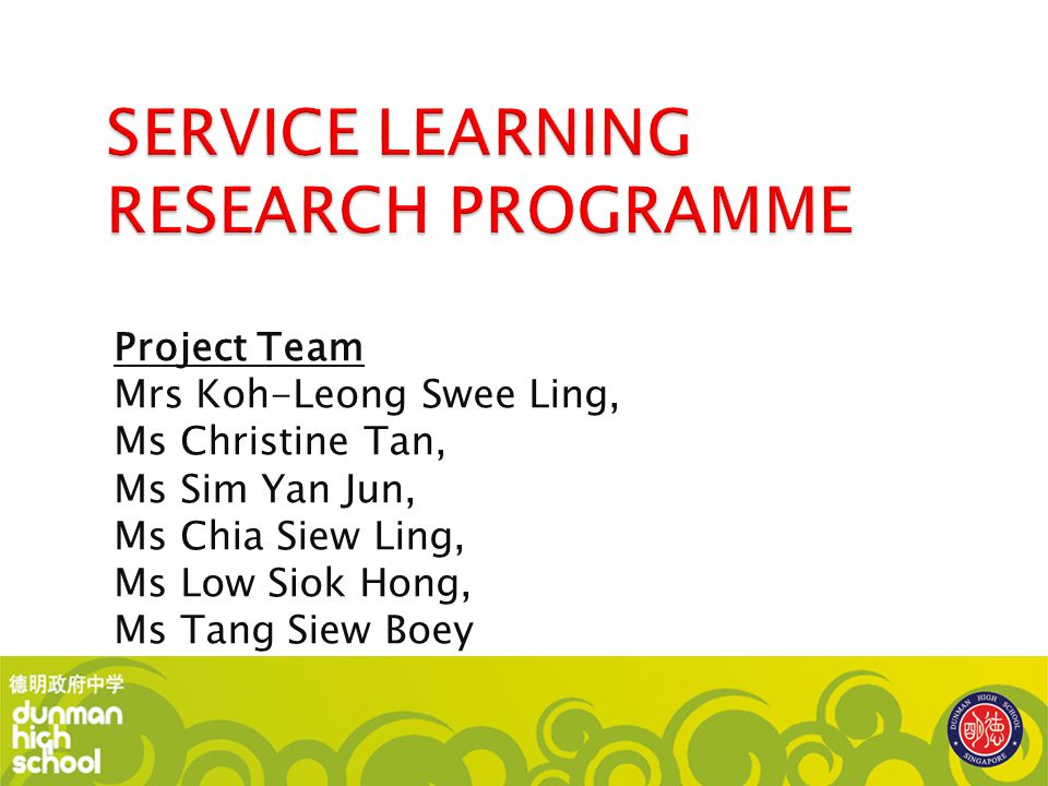 SERVICE LEARNING RESEARCH PROGRAMME