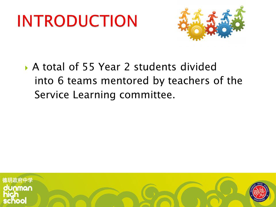 INTRODUCTION A total of 55 Year 2 students divided