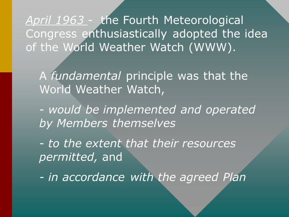 April 1963 - the Fourth Meteorological Congress enthusiastically adopted the idea of the World Weather Watch (WWW).