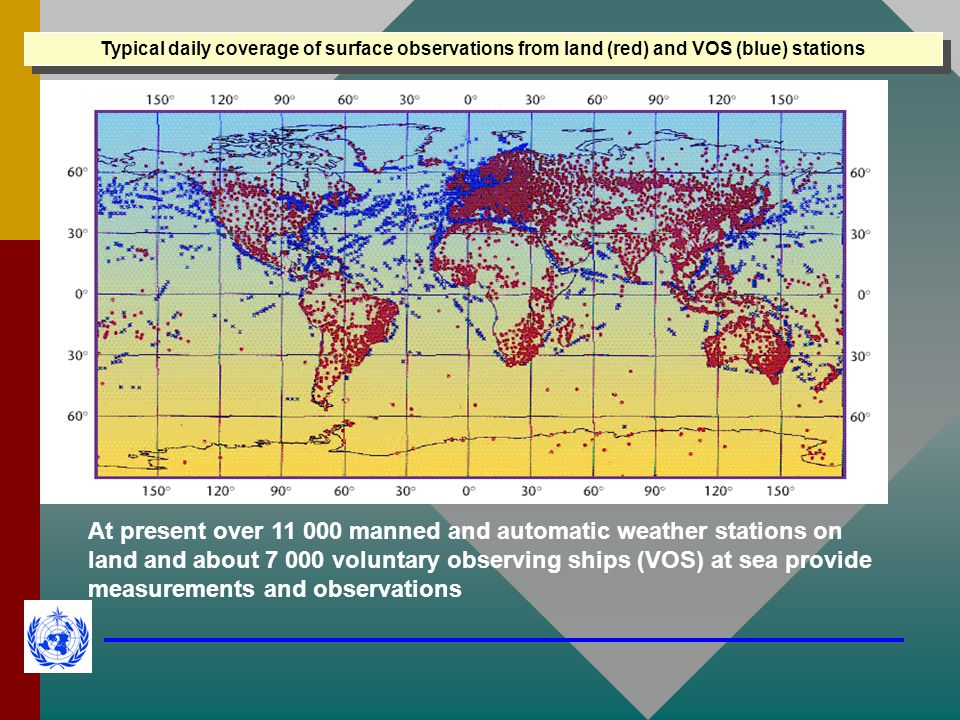 Typical daily coverage of surface observations from land (red) and VOS (blue) stations