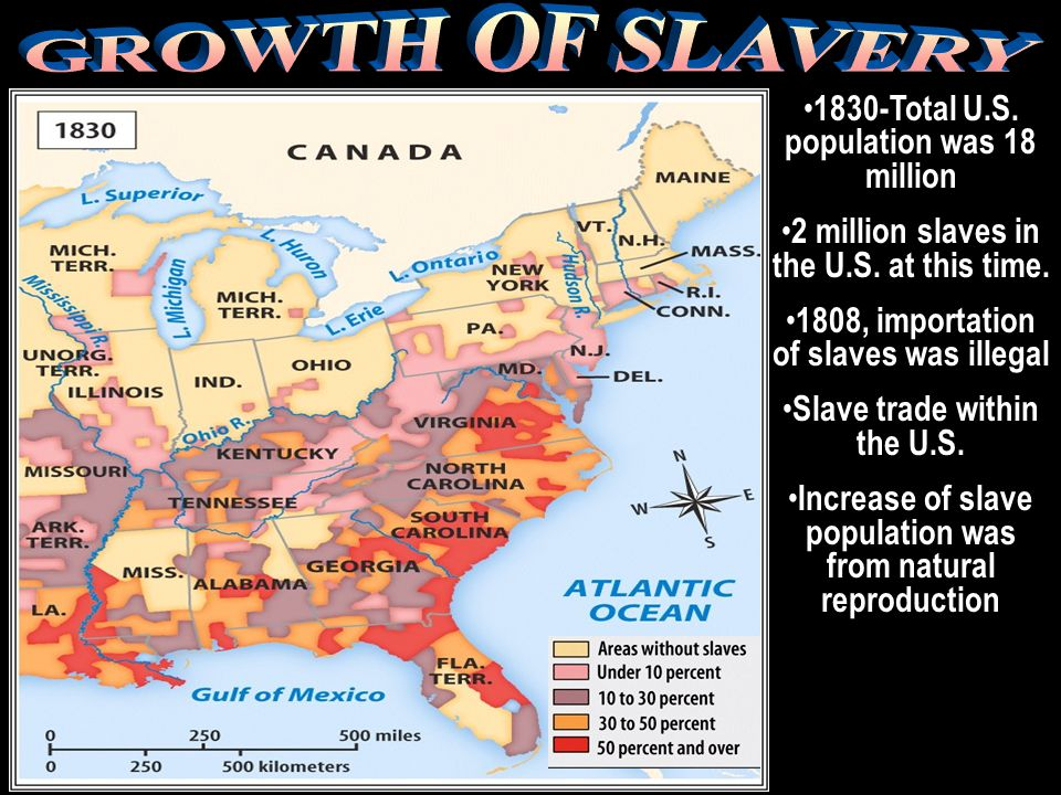 GROWTH OF SLAVERY 1830-Total U.S. population was 18 million