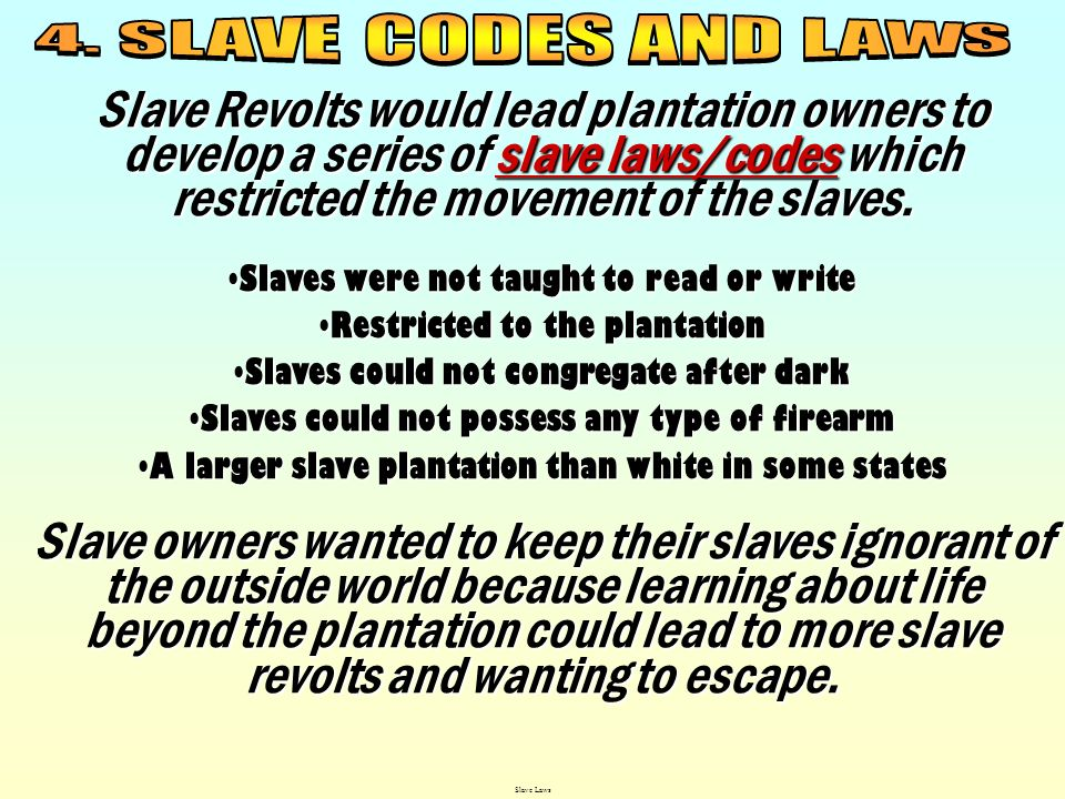 4. SLAVE CODES AND LAWS