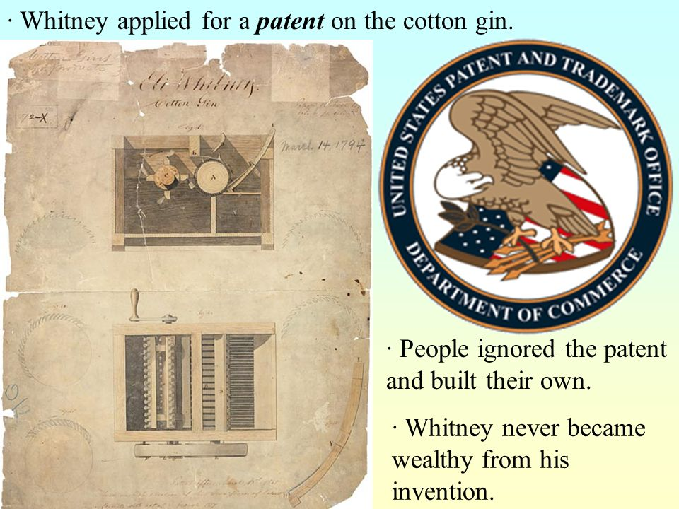 · Whitney applied for a patent on the cotton gin.