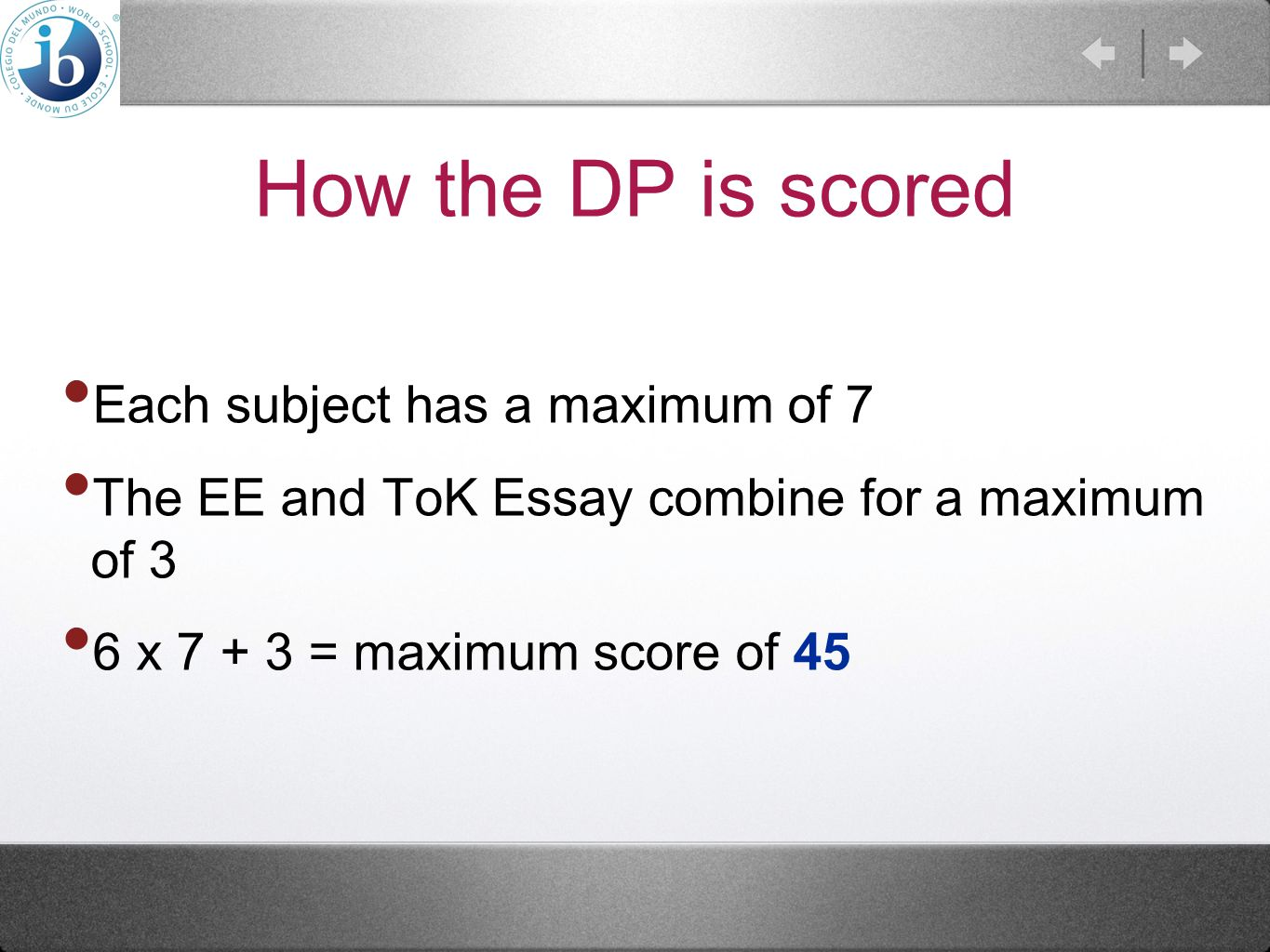 How the DP is scored Each subject has a maximum of 7