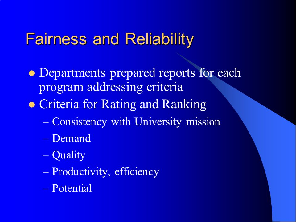 Fairness and Reliability