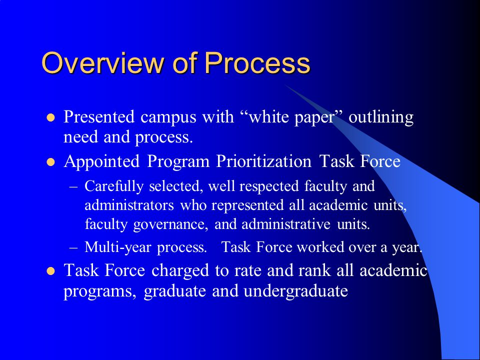 Overview of Process Presented campus with white paper outlining need and process. Appointed Program Prioritization Task Force.