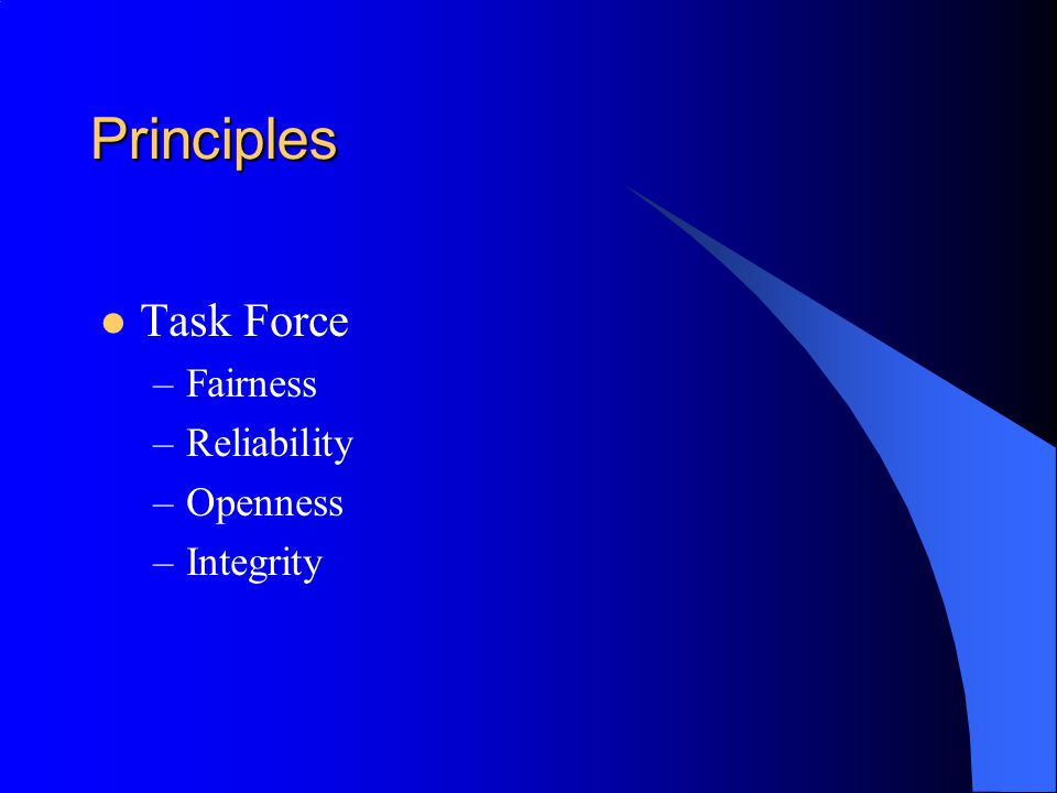 Principles Task Force Fairness Reliability Openness Integrity
