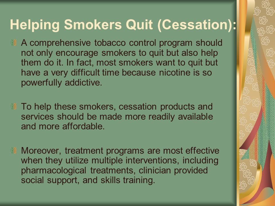 Helping Smokers Quit (Cessation):